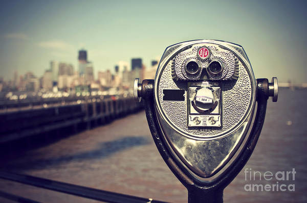 New Age Wall Art - Photograph - Tourist Binoculars At Liberty Island In by Ar Pictures