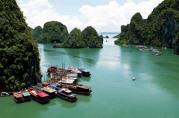 Scenery Wall Art - Photograph - Tourist Boats, Halong Bay, Vietnam by Michalakis Ppalis