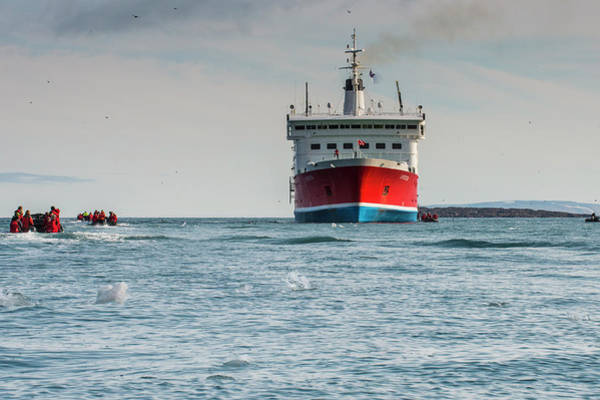Wall Art - Photograph - Tourist In Zodiacs Around A Expedition Ship Torellneset Arctic Svalbard by imageBROKER - Michael Runkel