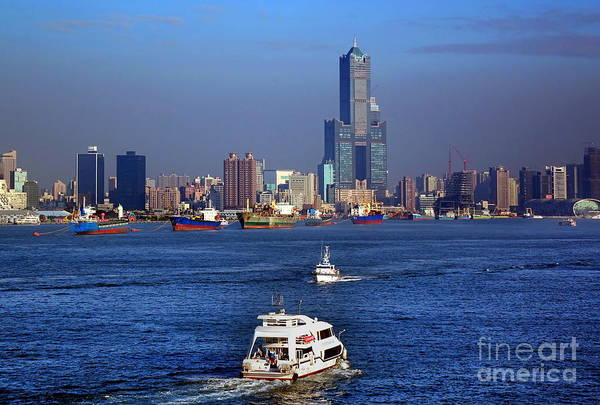 Photograph - Tourist Ships Sail Across Kaohsiung Port by Yali Shi