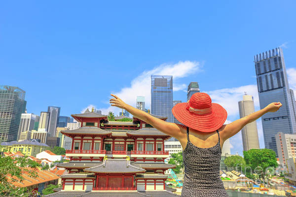 Photograph - Tourist Woman At Chinatown Singapore by Benny Marty