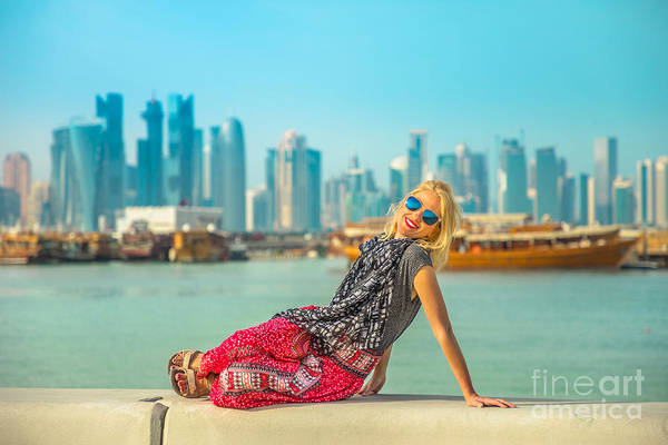 Photograph - Tourist Woman At Doha Corniche by Benny Marty