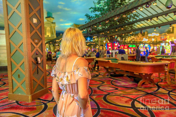 Photograph - Tourist Woman In Casino by Benny Marty
