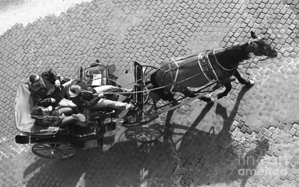 Roms Photograph - Touristes On Horse Carriage - Rome Bw Cityscape Poster by Stefano Senise
