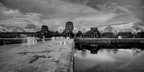 Wall Art - Photograph - Tourists At Angkor Wat Gateway, Siem by Panoramic Images