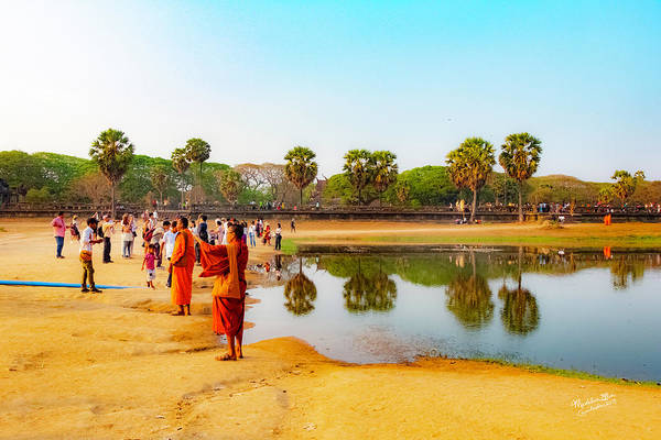 Wall Art - Photograph - Tourists At Angkor Wat - Siem Reap, Cambodia by Madeline Ellis