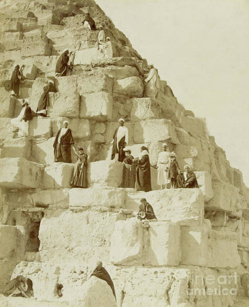 Wall Art - Photograph - Tourists At The Great Pyramid Of Giza, 19th Century by French School