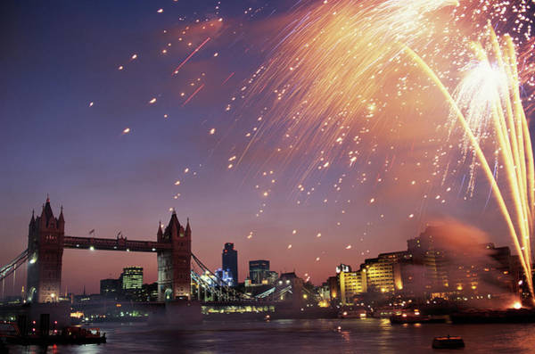 Fireworks Display Wall Art - Photograph - Tower Bridge 100 Year Fireworks In by Romilly Lockyer