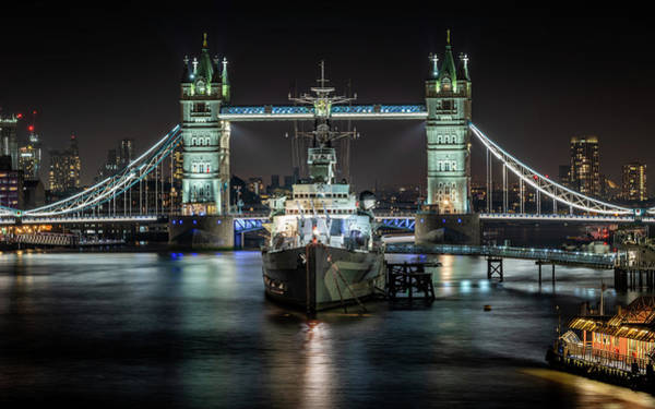 Photograph - Tower Bridge And Hms Belfast by Framing Places