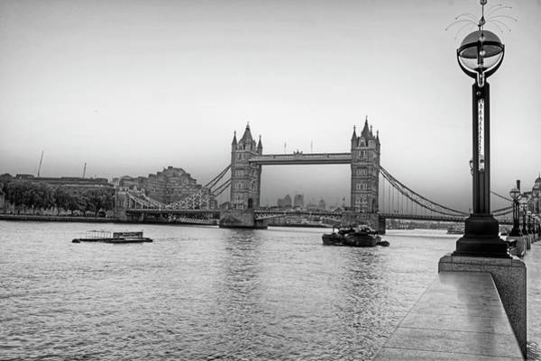 Photograph - Tower Bridge At Sunset London Uk United Kingdom England Black And White by Toby McGuire