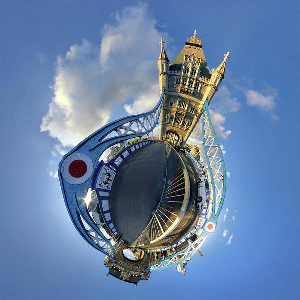 Fish Eye Lens Photograph - Tower Bridge, London by Constantinos Hinis