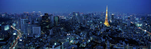 Wall Art - Photograph - Tower Lit Up At Dusk In A City, Tokyo by Panoramic Images