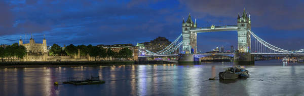 Photograph - Tower Of London And Tower Bridge At Night Panoramic by Adam Romanowicz