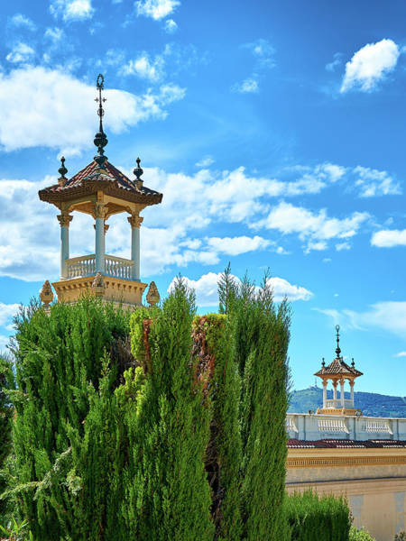 Photograph - Towers And Blue Sky From Montjuic In Barcelona by Fine Art Photography Prints By Eduardo Accorinti