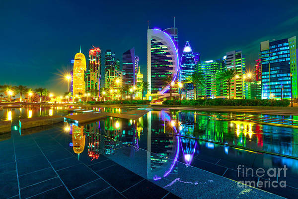 Photograph - Towers Of Doha Skyline by Benny Marty