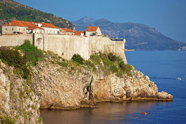 Lokrum Photograph - Town Of Dubrovnik And Strong Defence Walls View by Brch Photography