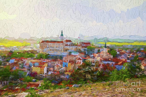 Digital Art - Town Of Mikulov - Painterly by Les Palenik