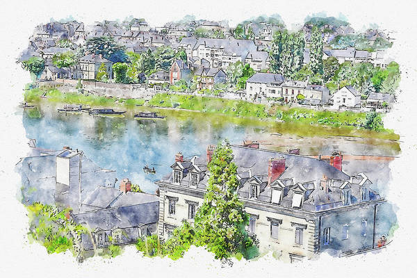Wall Art - Digital Art - Town #watercolor #sketch #town #europe by TintoDesigns