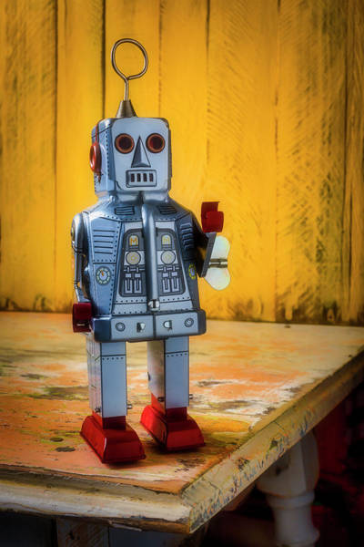 Wall Art - Photograph - Toy Robot On Old Table by Garry Gay