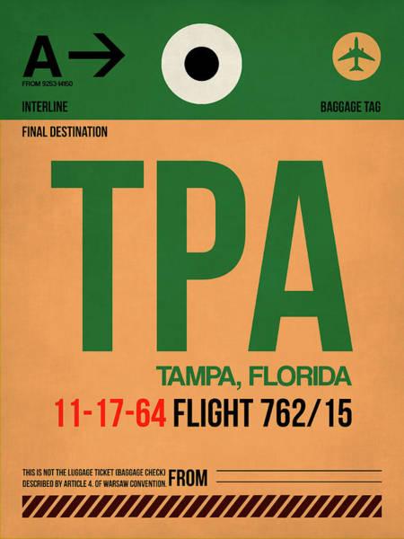 South Florida Wall Art - Digital Art - Tpa Tampa Luggage Tag I by Naxart Studio