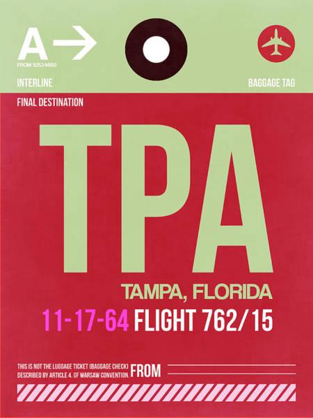 South Florida Wall Art - Digital Art - Tpa Tampa Luggage Tag II by Naxart Studio