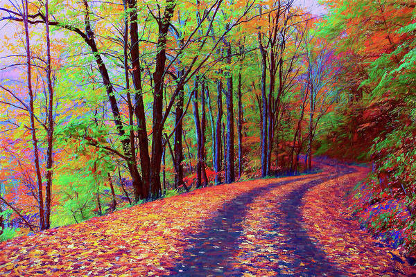 Wall Art - Painting - Tracks Thru Autumn Ap by Dan Carmichael