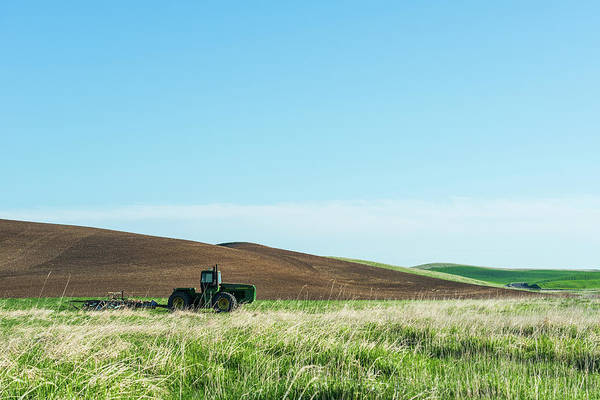 Digital Art - Tractor And Rolling Wheat Field At Palouse by Michael Lee