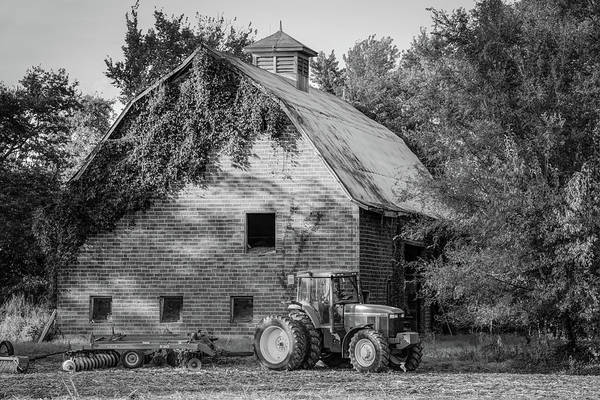 Wall Art - Photograph - Tractor And Vintage Barn Farmhouse - Monochrome Edition by Gregory Ballos