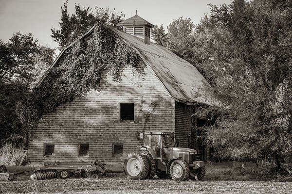 Wall Art - Photograph - Tractor And Vintage Barn Farmhouse - Sepia Edition by Gregory Ballos
