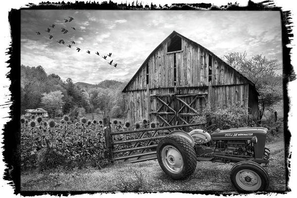 Photograph - Tractor At The Farm Black And White Bordered by Debra and Dave Vanderlaan