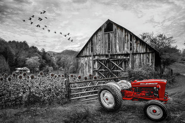 Photograph - Tractor At The Farm In Black And White And Red by Debra and Dave Vanderlaan