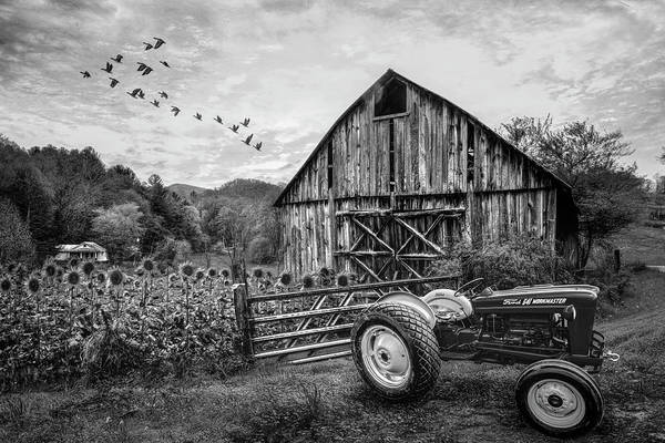 Photograph - Tractor At The Farm In Black And White by Debra and Dave Vanderlaan