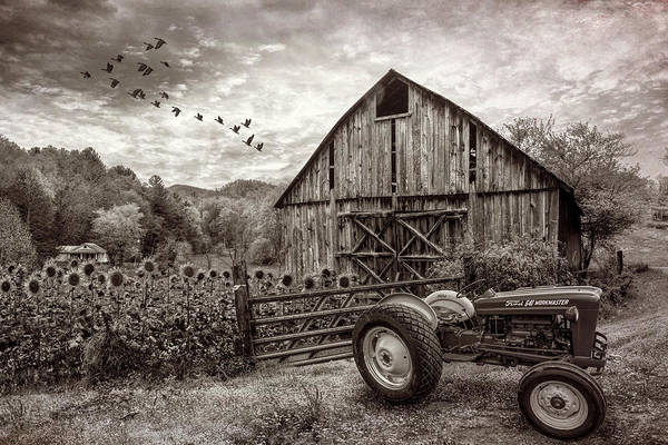 Wall Art - Photograph - Tractor At The Farm In Vintage Sepia by Debra and Dave Vanderlaan