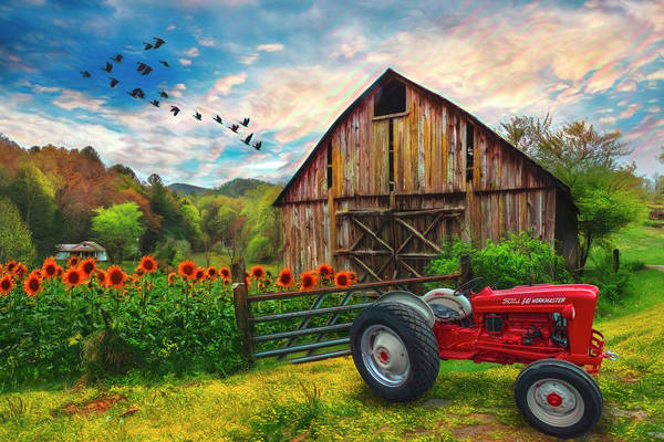 Photograph - Tractor At The Farm Watercolor Painting by Debra and Dave Vanderlaan