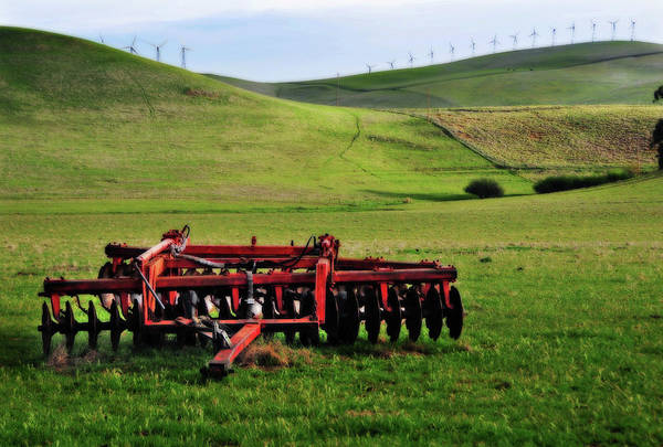 Livermore Wall Art - Photograph - Tractor Blades On Green Pasture by Mitch Diamond