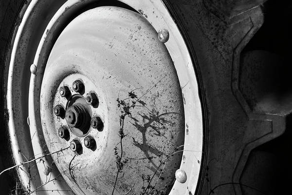 Wall Art - Photograph - Tractor Wheel - Black And White by Luke Moore