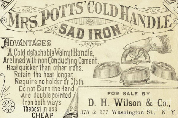 Wall Art - Drawing - Trade Card For Mrs Potts Cold Handle Sad Iron by American School