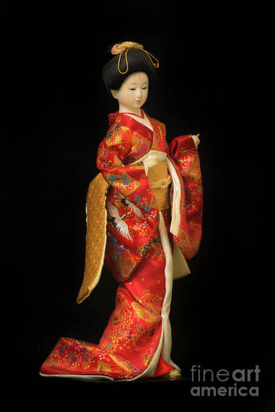 Hairdo Digital Art - Traditional 2 Japanese Geisha Doll In Red Kimono Isolated On Black by Amy Cicconi