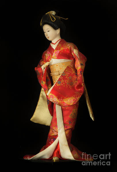 Hairdo Digital Art - Traditional 3 Japanese Geisha Doll In Red Kimono Isolated On Black by Amy Cicconi
