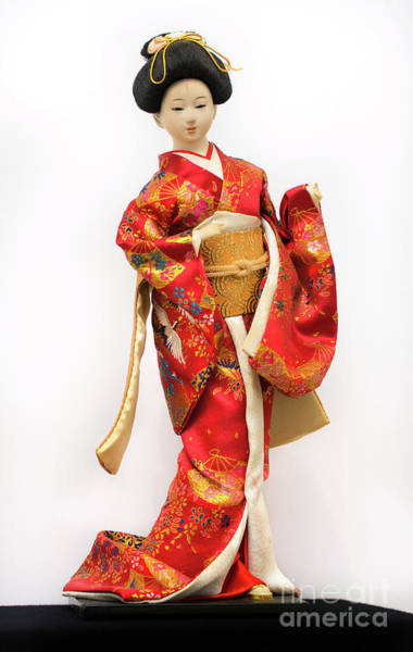 Hairdo Digital Art - Traditional 4 Japanese Geisha Doll In Red Kimono Isolated On White by Amy Cicconi