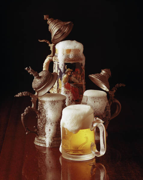 Beer Photograph - Traditional Beer Stein And Beer Glass by Tom Kelley Archive