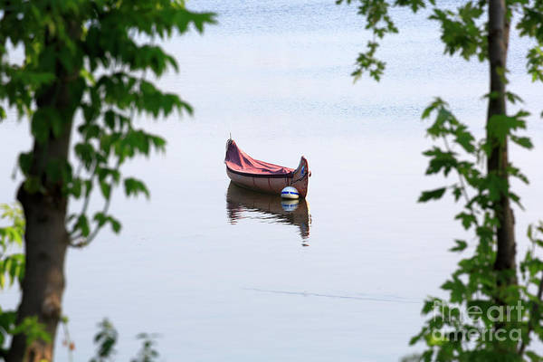 Wall Art - Photograph - Traditional Birch Bark Canoe On A Mooring Ball In Chambly Basin by Louise Heusinkveld