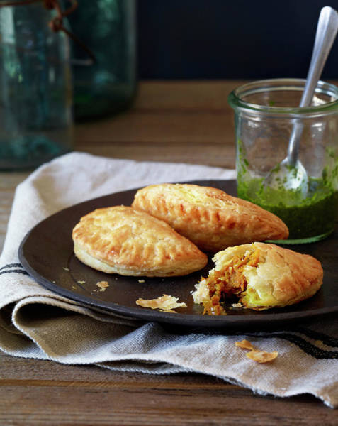 Napkin Photograph - Traditional Empanadas Made With Pumpkin by Annabelle Breakey
