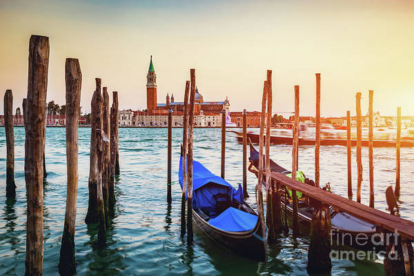 Wall Art - Photograph - Traditional Gondola In Venice At Sunset by Michal Bednarek