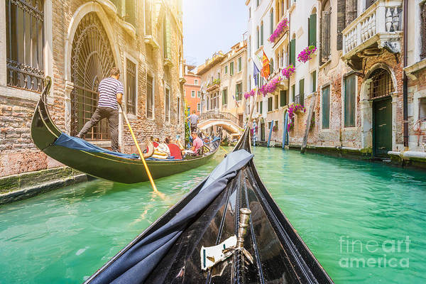 Wall Art - Photograph - Traditional Gondolas On Narrow Canal In by Canadastock