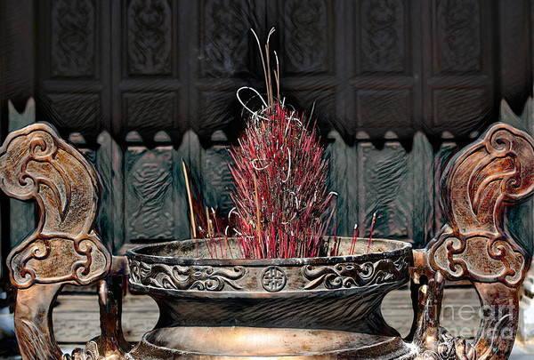 Wall Art - Digital Art - Traditional Incense Burning Buddha Spiritual  by Chuck Kuhn