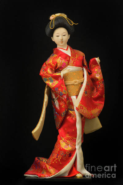 Hairdo Digital Art - Traditional Japanese Geisha Doll In Red Kimono Isolated On Black by Amy Cicconi