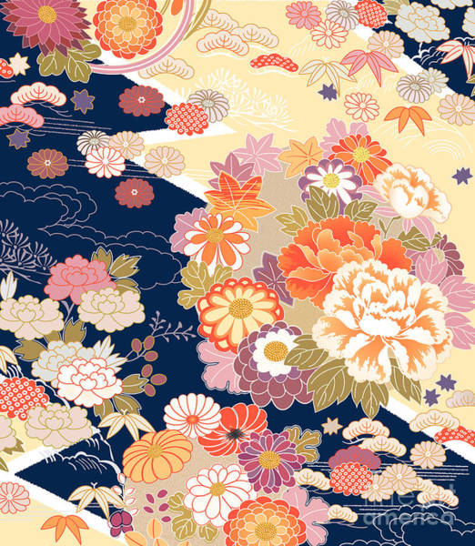 Peonies Wall Art - Digital Art - Traditional Kimono Motifs by Malamalama