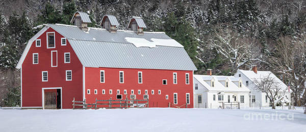 Wall Art - Photograph - Traditional New England Red Dairy Barn Grantham New Hampshire Panoramic by Edward Fielding