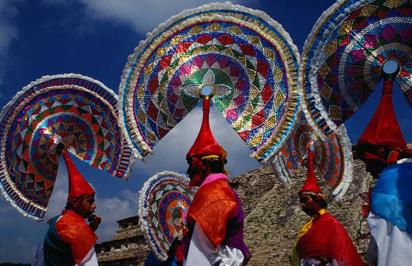 Wall Art - Photograph - Traditional Quetzal Dancers With by Jeffrey Becom